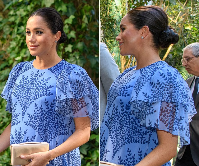 The North African country provided the perfect backdrop for Meghan's flawless style. On her third and final night in Morocco she stunned wearing an up-do and Carolina Herrera custom frock.