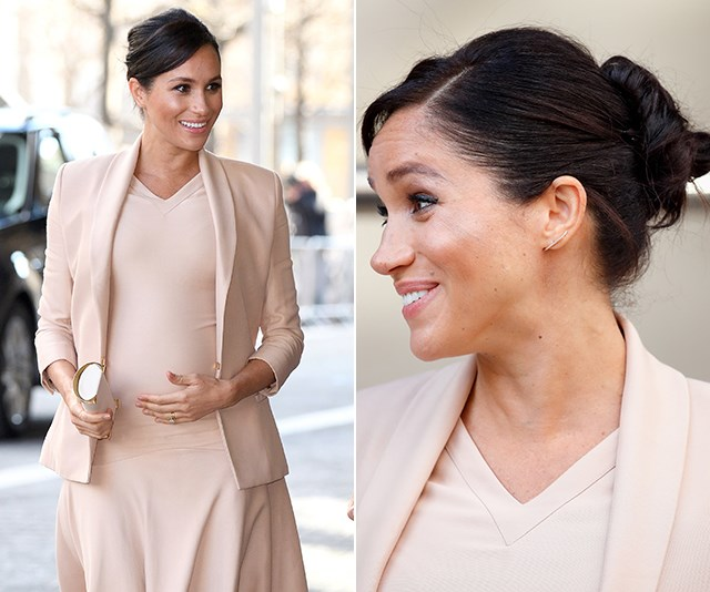 "In January 2018, Meghan's simple beige ensemble worn to the [National Theatre](https://www.nowtolove.com.au/royals/british-royal-family/meghan-markle-beige-dress-53859|target=""_blank"") was pure harmony with her chic bun."