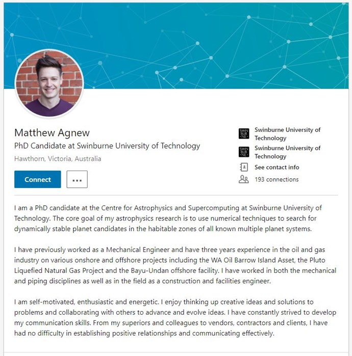 Anyone else tempted to connect with Matt on LinkedIn? *(Image: LinkedIn)*