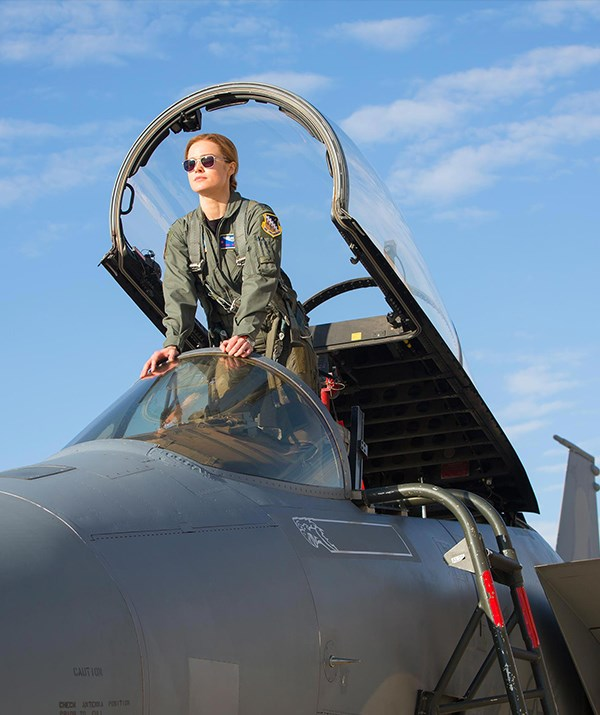 Brie Larson as Carol Danvers in *Captain Marvel*.