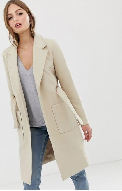 """Vila belted tailored coat, $120, available from [ASOS](https://www.asos.com/au/vila/vila-belted-tailored-coat/prd/11601664