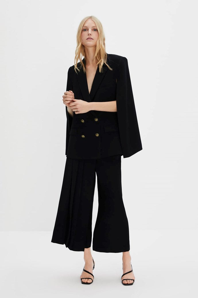 "Zara cape blazer, $159, available from [Zara](https://www.zara.com/au/en/cape-blazer-p03905878|target=""_blank""|rel=""nofollow"")."