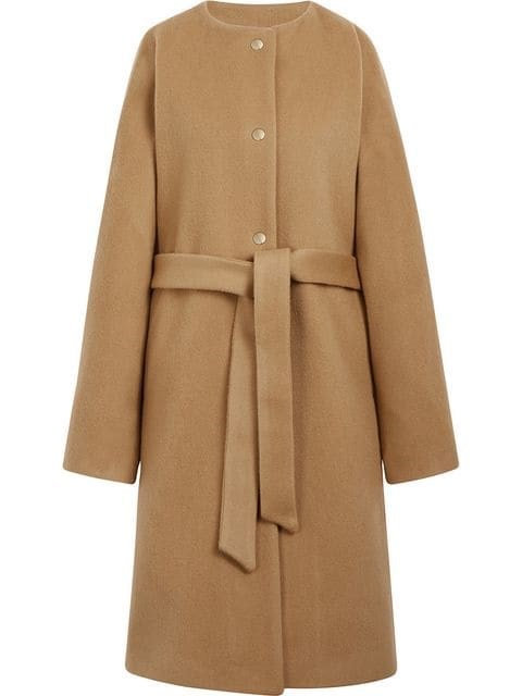 """Mackintosh wool and cashmere belted coat, $596, available from [Farfetch](https://www.farfetch.com/au/shopping/women/mackintosh-beige-wool-cashmere-belted-coat-lm-085f-item-13044682.aspx?storeid=10658