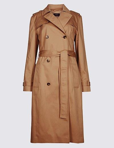"""Marks & Spencer pure cotton longline trench, $150, available from [Marks & Spencer](https://www.marksandspencer.com/au/pure-cotton-longline-trench/p/P60155146.html