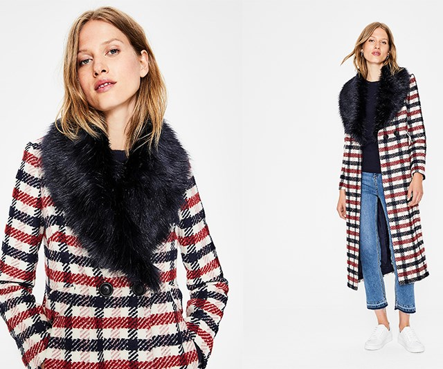 """Boden burley coat, $276, available from [Boden](http://www.bodenclothing.com.au/en-au/clearance/womens-coats-jackets/coats/t0245-ivo/womens-navy-and-wine-check-burley-coat