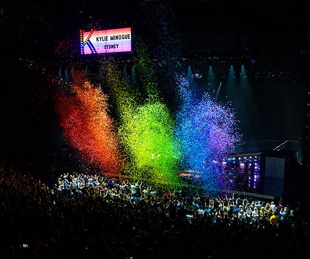Fresh from her appearance at the 2019 Mardi Gras over the weekend, Miss Minogue brought a touch of the rainbow to her Sydney show on Tuesday night. *(Image: Jasin Boland)*