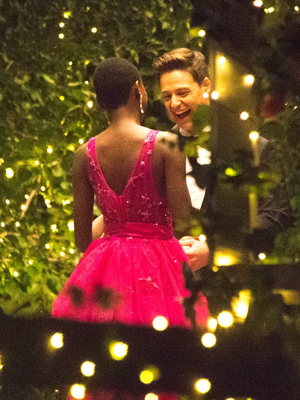 We are loving this hot pink gown...and it looks like Matt is a fan too!