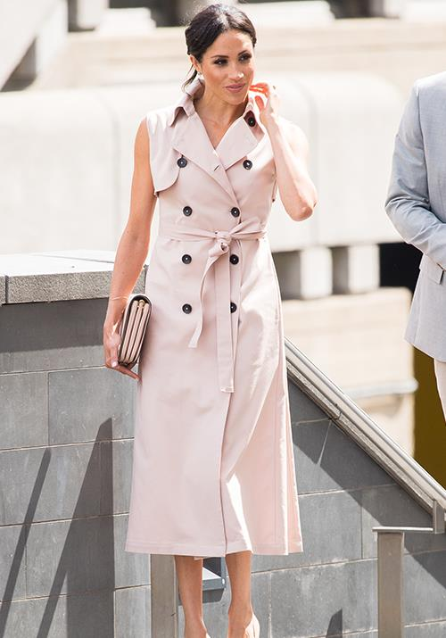 The hype around Meghan's blush pink dress by Nonie reportedly saved the fashion label from shutting down. *(Image: Getty)*