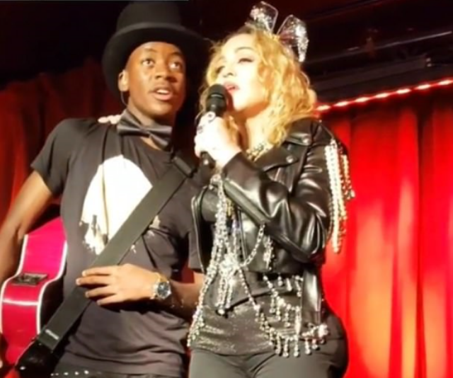 Madonna and David Banda on stage at NYE. *(Image: Instagram @micheleruiznyc)*