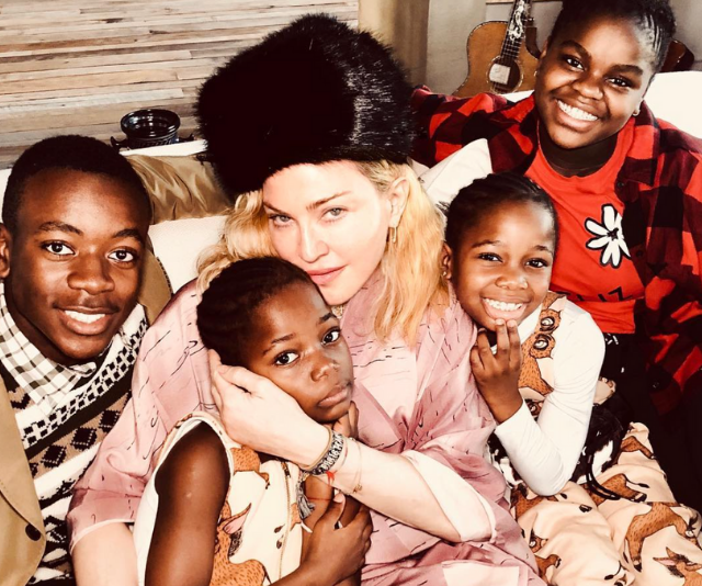 Madonna with David, Stella, Esther and Mercy James.  *(Image: Instagram @Madonna)*