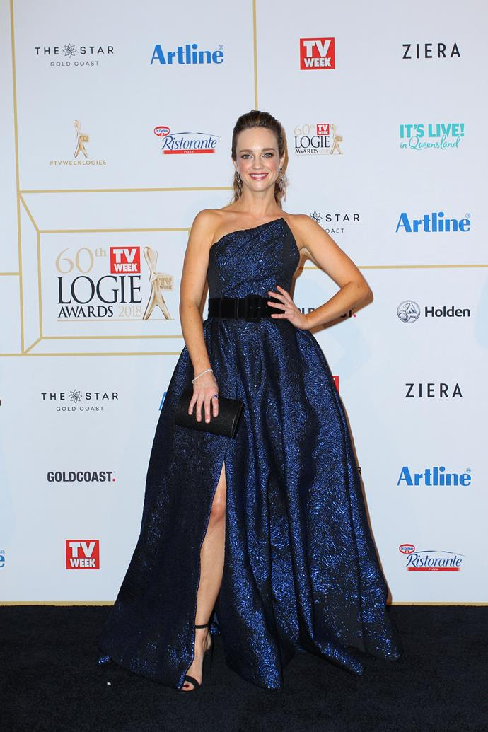 Penny realised she was pregnant at the Logies in 2018.