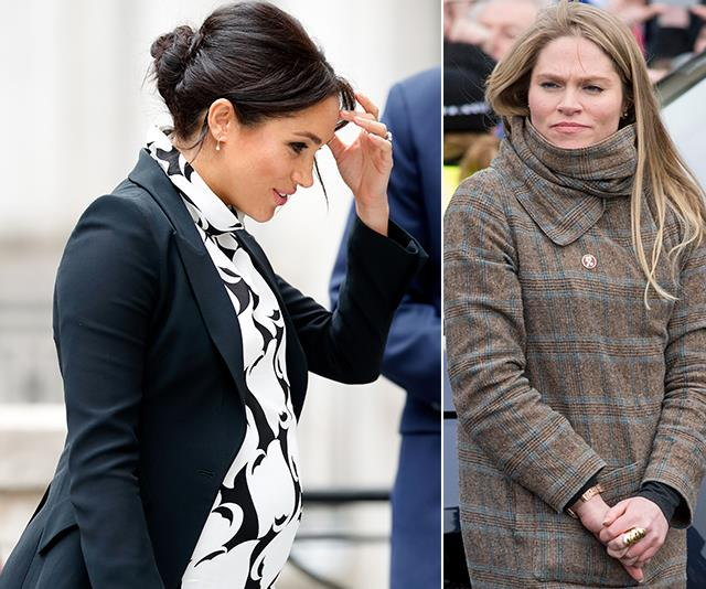 Meghan's right-hand woman Amy Pickerill (right) is reportedly quitting her royal gig. *(Images: Getty)*