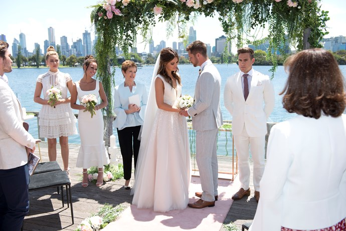 The couple exchange their vows in front of their loved ones.