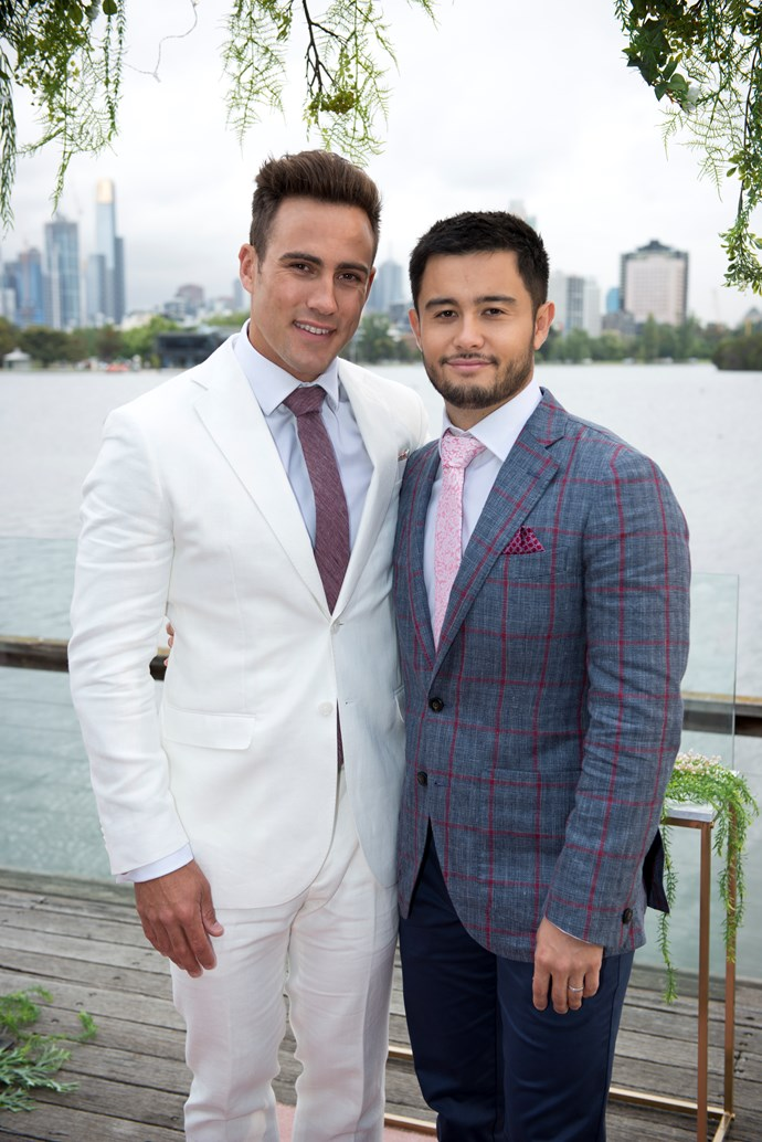 Newlyweds themselves, Aaron and David are excited to celebrate at Mark's wedding!