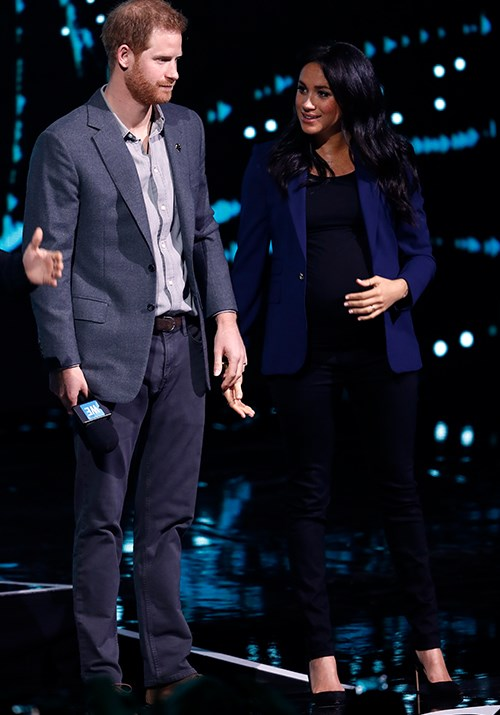 For the occasion, Meghan wore a Raph Lauren blazer paired with a black top and skinny jeans, along with her favourite  Manolo Blahnik pumps.  <br><br> And it would be safe to say the crowd went wild - see the moment in the video below! *(Image: Getty Images)*
