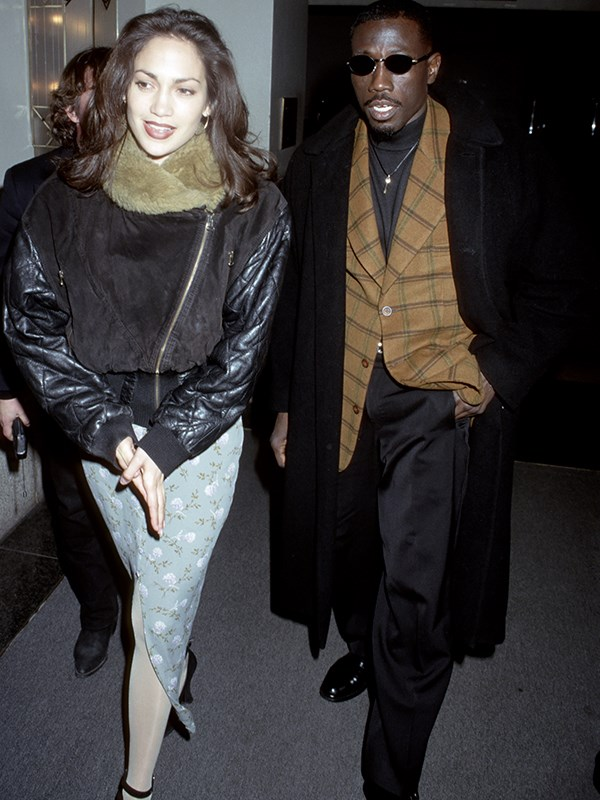 After David came her *Money Train* costar Wesley Snipes, who she dated in 1995 and who she also performed her first ever sex scene with. *(Image: Getty Images)*