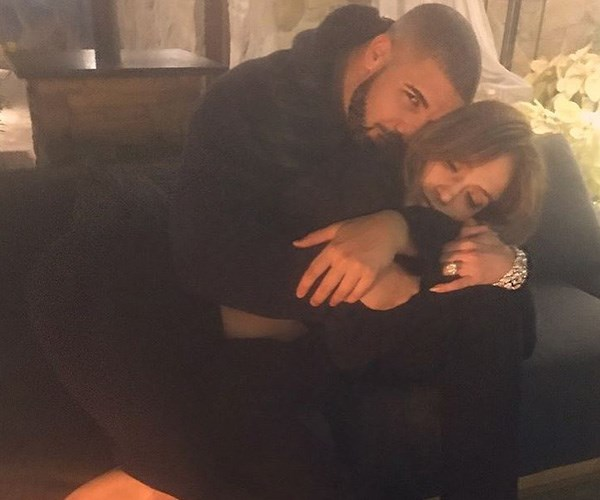 After JLo uploaded this snap of Drake locking her in a cute cuddle in 2016, the Internet went into meltdown. Turns out it was most likely a fling, but that didn't stop the rapper from spoiling the *Ain't Your Mama* singer with a $100,000 Tiffany Victoria necklace while spending New Year's Eve together in Las Vegas. *(Image: Instagram @jlo)*