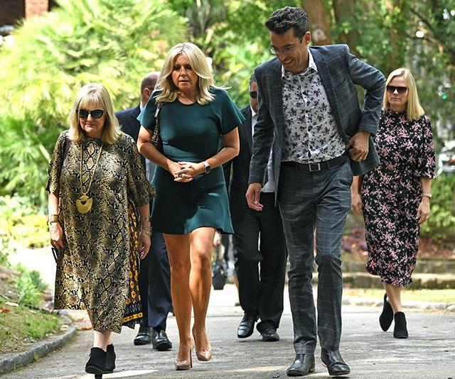 Angela Bishop, Denise Scott and Joe Hildebrand at the funeral of John Kennerley. *(Source: AAP)*