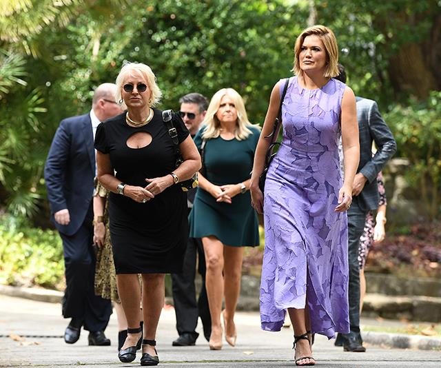 Sarah Harris at the funeral of John Kennerley. *(Source: AAP)*