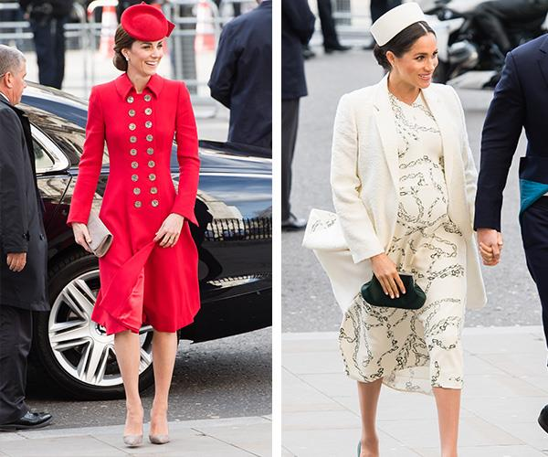 Both Catherine and Meghan oozed elegance as they arrived for the Commonwealth Day service. *(Image: Getty Images)*