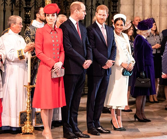 The Fab Four reunited! Prince William and Duchess Catherine looked composed while Prince Harry and Duchess Meghan were all smiles as they waited for the Queen to arrive. *(Image: Getty Images)*