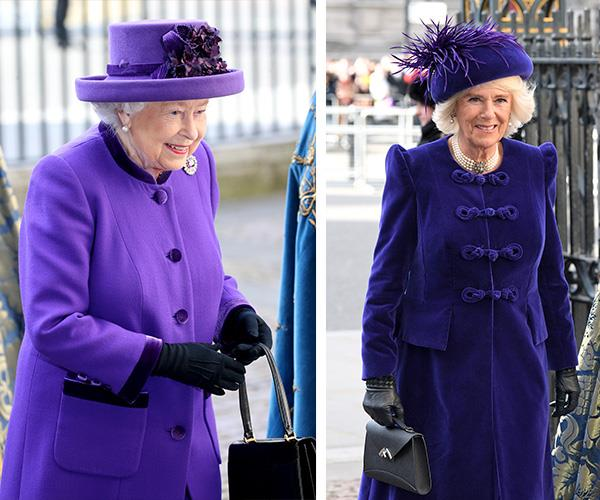 Purple was the colour of choice for both the Queen and the Duchess of Cornwall. *(Image: Getty Images)*