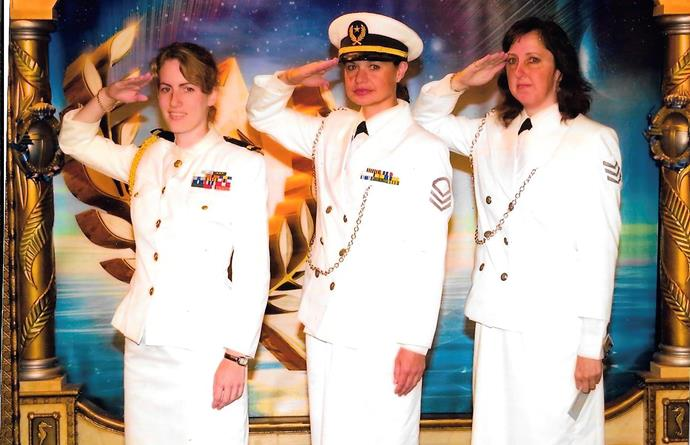 Valeska (pictured left) was stationed on Freewinds, the Scientology cruise ship for more than 11 years. *(Image: Supplied)*