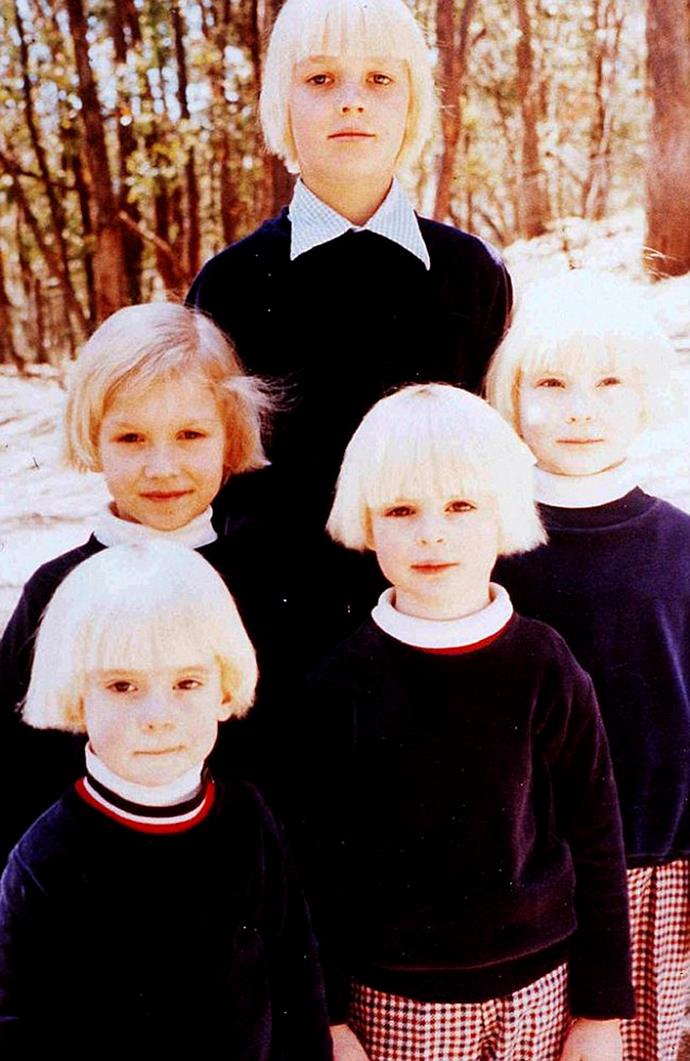 The children all donned identical outfits and dyed blonde hair. *(Image: Supplied)*