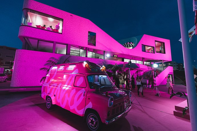 North Bondi Surf Life Saving Club lit up pink