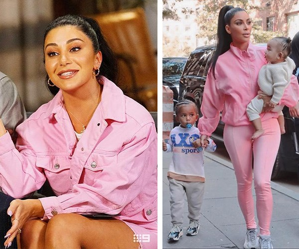 Brb, investing in a pink jacket. *(Images L-R: Channel Nine/Instagram @kimkardashian)*