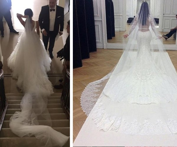 It may not have been as big a train as Kim's but both looked drop dead gorgeous in their wedding gowns. *(Images L-R Instagram @marthaa__k/@kimkardashian)*