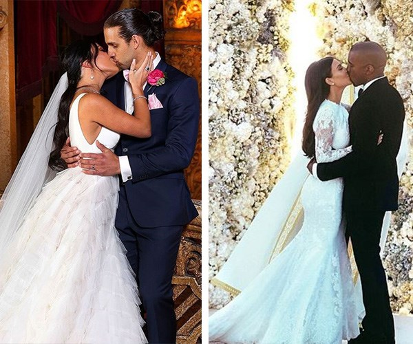Sealed with a kiss! Michael is the Kanye to Martha's Kim! *(Images L-R: Channel Nine/Instagram @kimkardashian)*