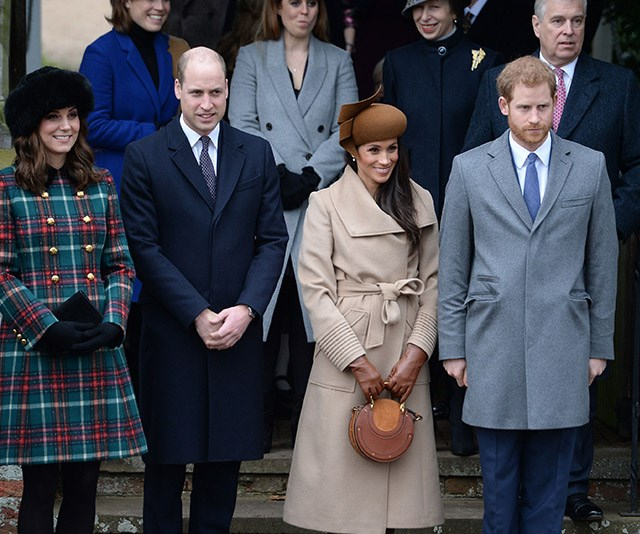 **December 2017: Meghan attends Christmas with the royals** <br><br> Just like that, she was part of the family! Meghan was snapped at the Christmas Day service at Sandringham shortly after her and Harry's big announcement. *(Image: Getty)*
