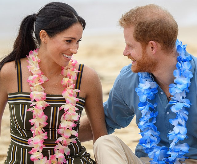 "**October 2018: A royal tour clad with PDAs** <br><br> After announcing they were expecting their first child together, the couple couldn't have looked more excited (or more smitten!). A wholesome day at [Syndey's Bondi beach](https://www.nowtolove.com.au/royals/british-royal-family/prince-harry-meghan-markle-bondi-51926|target=""_blank"") was case in point - they couldn't take their eyes off each other. *(Image: Getty)*"