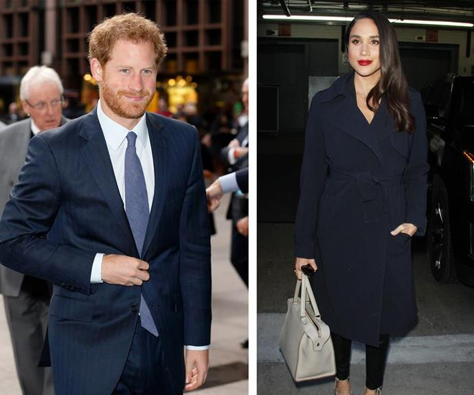 "**December 2016: First pictures of the couple together emerge** <br><br> It was the moment we'd all been waiting for - Prince Harry and Meghan Markle were [pictured together](https://www.nowtolove.com.au/royals/british-royal-family/the-first-photos-of-prince-harry-and-meghan-markle-32971|target=""_blank"") as they strolled to a show in London's West End. To add to the romance, the pair were hand-in-hand as they walked along Piccadilly surrounded by Christmas lights - swoon! *(Images: Getty)*"