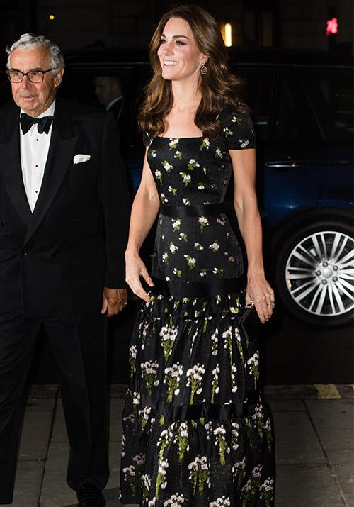 The grand entrance! Kate looked incredible in an Alexander McQueen gown for the glamorous evening. *(Image: Getty)*