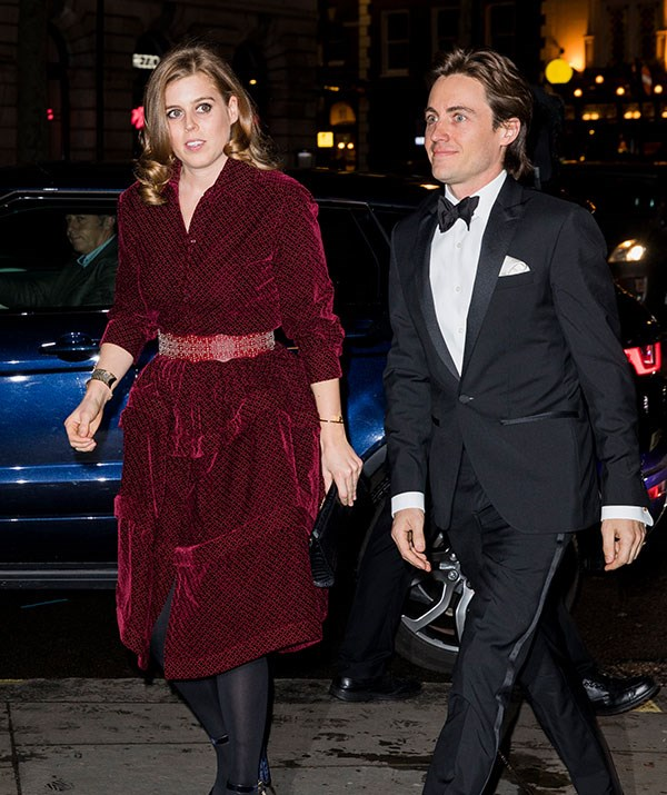 Princess Beatrice looked glam in a crimson dress while making her first official public appearance with her boyfriend Edoardo Mapelli Mozzi. *(Image: Getty)*