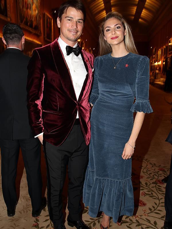 Dressed in a red velvet jacket, actor Josh Hartnett was accompanied by his partner, Tamsin Egerton.