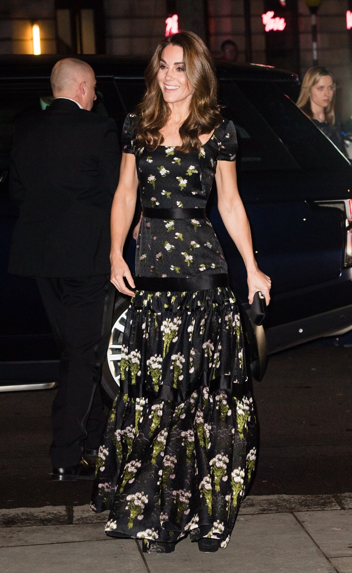 "Does this dress look familiar? The Duchess is famous for recycling some of her gorgeous designer outfits and she did [just that with this stunning Alexander McQueen gown](https://www.nowtolove.com.au/royals/british-royal-family/kate-middleton-portrait-gala-54602|target=""_blank""). She's worn it before at the BAFTA Awards in 2017 and donned the frock again for the Portrait Gala 2019 at the National Portrait Gallery in London. *(Image: Getty)*"