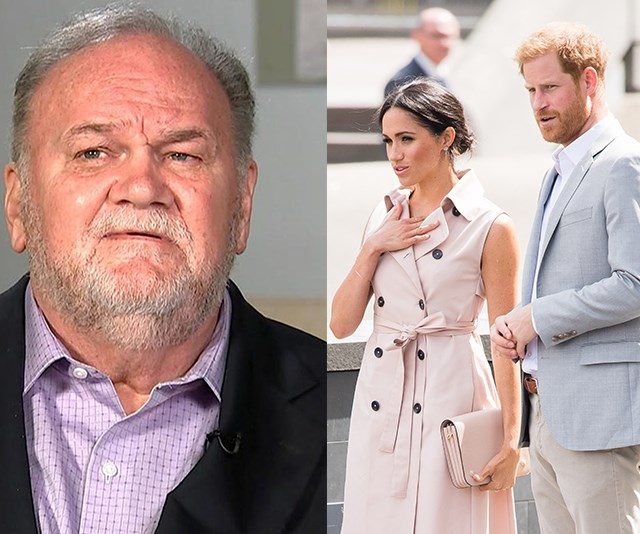 Meghan is reportedly going to make amends with her estranged father. *(Images: Good Morning Britain (L), Getty (R) )*