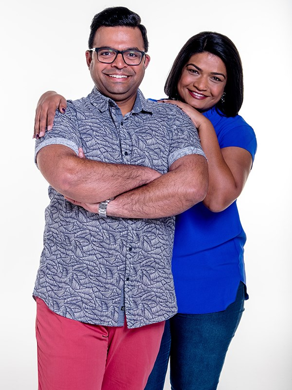 "Melbourne couple Deepesh (Dee) and Sage met online four years ago on RSVP and married in 2017. The newbies (well...Sage) is very organised but they hope Australia will see their ""cheeky and funny side."" *(Image: Channel Nine)*"