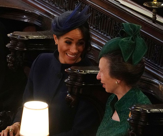 """Meghan and Anne happily chatted in the pews during [Princess Eugenie's](https://www.nowtolove.com.au/tags/princess-eugenie-of-york