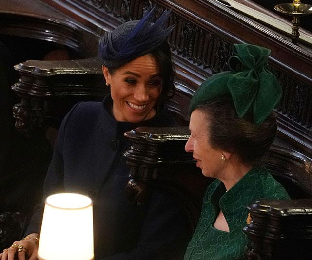 "Meghan and Anne happily chatted in the pews during [Princess Eugenie's](https://www.nowtolove.com.au/tags/princess-eugenie-of-york|target=""_blank"") wedding last year. *(Image: Getty)*"