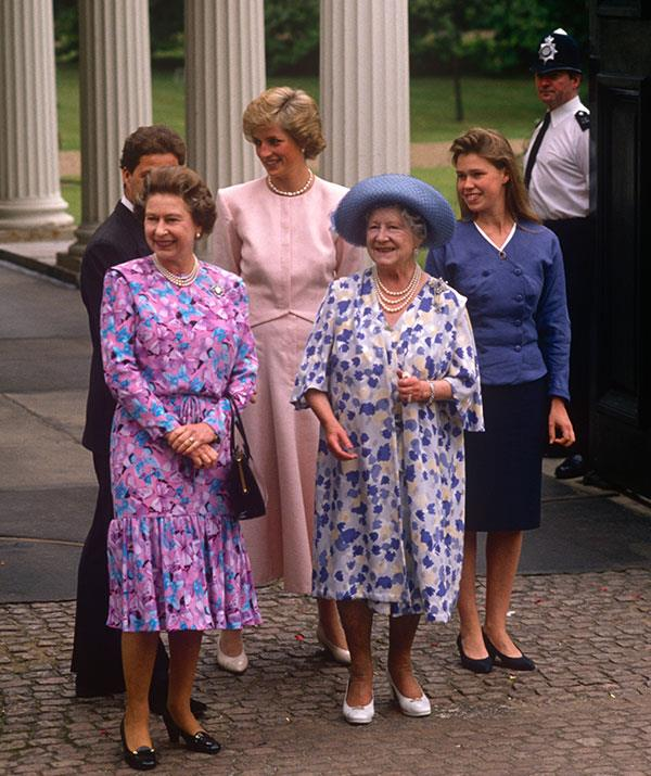 The Queen, Prince Charles, Princess Diana, The Queen Mother and Lady Sarah Chatto step out for the The Queen Mother's 88th birthday celebrations at Clarence House in 1988. *(Image: Getty)*