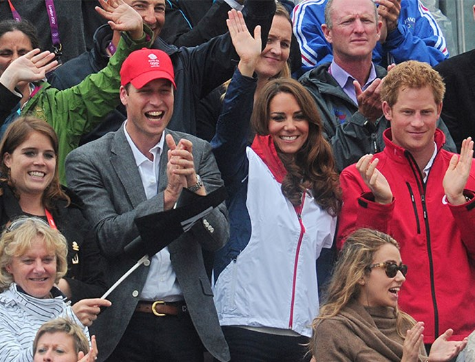 Proud family moment! Princess Eugenie, Prince William, Duchess Catherine and Prince Harry cheer on cousin Zara Phillips as she and Great Britain's equestrian team win a silver medal in the team Equestrian competition during the 2012 London Olympics. *(Image: Getty)*