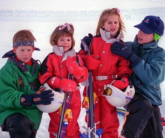 The Yorks and the Waleses hit the snow for a family holiday in Klosters, Switzerland in 1995. *(Image: Getty)*