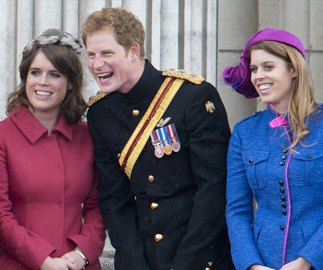 Royal cousins unite! Eugenie, Harry and Beatrice share a laugh during an official event. *(Image: Getty)*