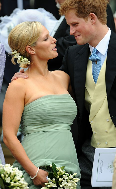 Harry and Zara pictured at Peter Phillips' wedding to Autumn Kelly in 2008. *(Image: Getty)*