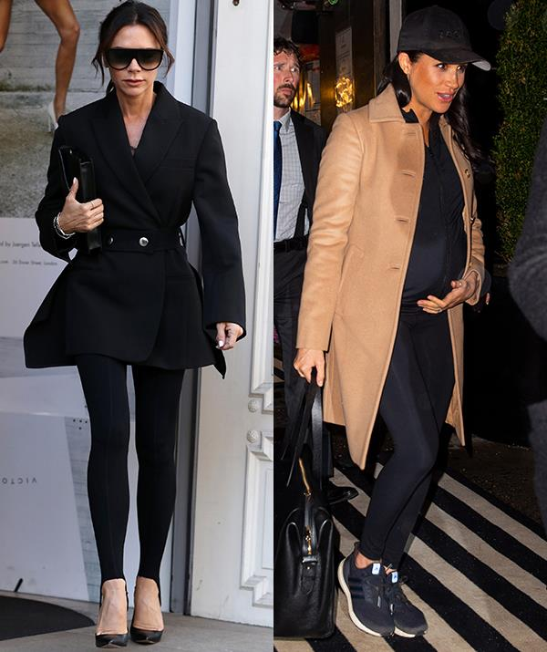 The humble legging has even been worn by fashion icons Victoria Beckham and Meghan Markle. *(Images: Getty)*