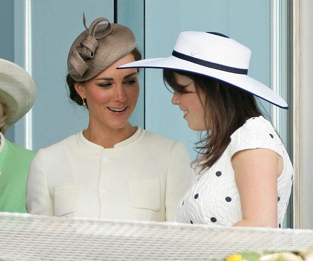Duchess Catherine and Princess Eugenie catch up at the Derby Day festival in 2011. *(Image: Getty)*